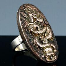 RARE ANTIQUE 19THC JAPANESE MEIJI SILVER COPPER MIXED METAL SAMURAI DRAGON RING