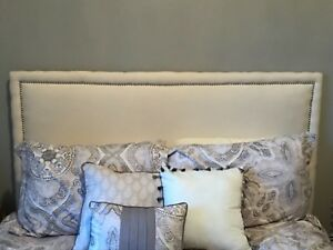 Full-size Upholstered Headboard with Nailhead Trim-White