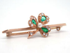 Art Deco Broche aguja con ESMERALDA piedra preciosa + DIAMANTES 585 / 14k oro