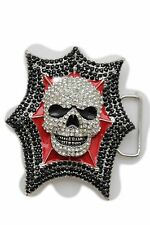 New Belt Buckle Men Women Silver Metal Skeleton Skull Black Red Bling Large Size