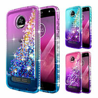 For Motorola Moto Z2 Force | Liquid Glitter Bling TPU Case Cover +Tempered Glass