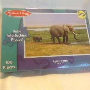 """NEW Melissa and Doug Jigsaw Puzzle Elephants 100 Pieces 14"""" x 19"""" Factory Sealed"""