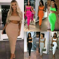 Womens Ladies Ribbed Sleeveless Crop Top Maxi Skirt Two Piece Co-rd Set Dress