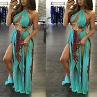 Sexy Womens Lace Up Sleeveless Bodycon Dress Cocktail Beach Long Maxi Slit Dress