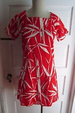 Vintage 50s Lord & Taylor Rockabilly Red White Floral Barkcloth Dress S Hawaiian