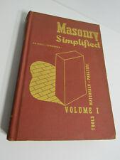 1971 Masonry Simplified Volume 1 Tools Materials Practice Stonework Book