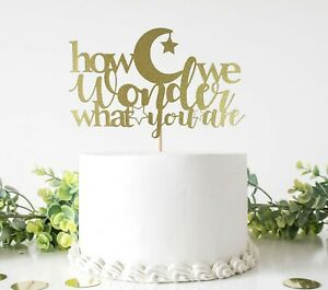 How We Wonder What You Are Cake Topper For Gender Reveal Party, Baby Shower