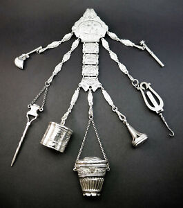 ANTIQUE 19thC VICTORIAN SOLID SILVER CHATELAINE SEWING TOOLS, PENCIL, SEAL, BOX