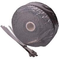 Hitzeschutzband Fiberglas schwarz 10m für Auspuffanlagen inkl. 6 Kabelbinder
