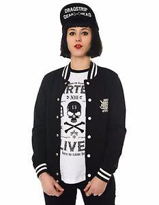 Dragstrip Clothing Women`s Baseball Jacket Zero F*cks Given Attitude clothing