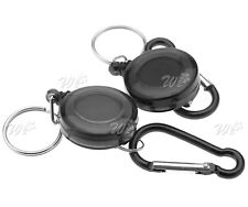 2x Recoil Retractable Key Ring Pull Chain Card Badge Card Holder Belt Clip Reel
