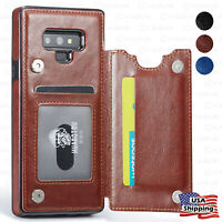 Leather Wallet Magnetic Flip Cover Thin Slim Case For Samsung Galaxy S10/S9 Plus