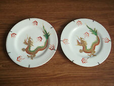 Old vintage beautiful pair of dragon, ceramic plates of 60's, made in Japan..