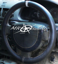 FOR VAUXHALL SIGNUM 2003-2008 BLACK LEATHER STEERING WHEEL COVER WITH GREY STRAP