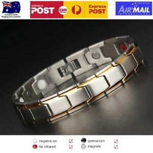 Titanium Steel Magnetic Therapy Bracelet for Arthritis Pain Relief Silver & Gold