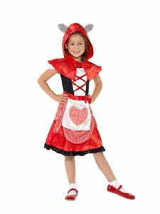 Girls Little Red Riding Hood Costume Halloween Red Big Bad Wolf Ears Hooded S M