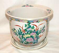 "New 10.5"" Oriental Asian Colorful Floral Flowers Planter Plant Pot & Saucer"
