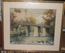 """Antique Authentic Belgium Julien Celos Landscape """"Water under Bridge"""" signed NR"""