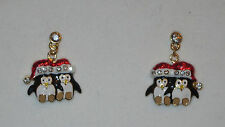 PENGUIN Earrings Pierced Christmas Santa Hat Crystal Accents Gold Tone New