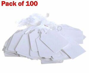 Quality White Strung Price Ticket Tags Labels Retail Clothing Gift Tags