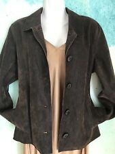 NEW J. Jill Women's  Brown Distressed Leather wood Button Jacket Pockets Size Sm