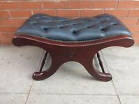 An Blue Leather Chesterfield Saddle Foot Stool ***FREE POSTAGE***