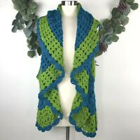 Vintage Handmade Sweater Vest M L Crochet Granny Square Ruffle Colorful Teal