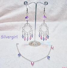 Purple Pink Crystal Chandelier Bead Bracelet Earring Set