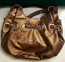 Women's MICHAEL KORS Gold Champagne Hobo Bag Purse W/ Woven Straps and Tassel