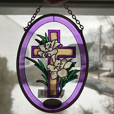 Amia Religious Cross Easter Lily Hand Painted Stained Glass Suncatcher