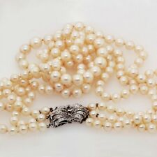 Pearl Necklace w/Adjustable 2-3 Strands & Art Deco Diamond Clasp in White Gold