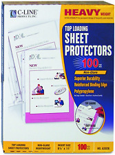 C Line Top Loading Heavyweight Poly Sheet Protectors Non Glare 85 X 11 Inches