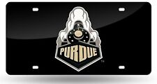 Purdue Boilermakers BLACK Deluxe Laser Cut Mirrored License Plate Tag University