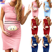 Women Mom Pregnancy Maternity Clothes Props Bodycon Casual Sleeveless Mini Dress