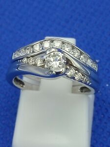 H Samuel 9 Carat White Gold 0.50 Carat Diamond 2 Ring Bridal Set Size I 3.5g
