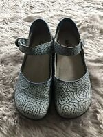 Alegria by PG Lite Blue Floral Leather Mary Jane Shoes Women's EU 37 US 6.5