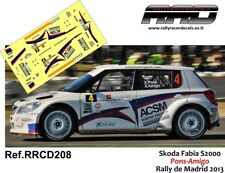 DECAL/CALCA 1/43; Skoda Fabia S2000; Pons-Amigo; Rally de Madrid 2013