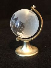 Vintage Miniature Frosted Glass World Globe Sphere Figurine