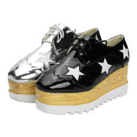 Women's High Platform Creepers Wedge Sneakers Lace Casual Shoes Leather   * x