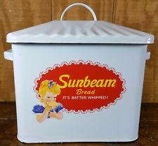 SUNBEAM BREAD IT'S BATTER WHIPPED PORCELAIN ENAMEL ENAMELWARE STORAGE BREAD BOX