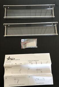 AMT Acrylic Floating Wall Display Shelves (2 Pack, Medium) | Clear Acrylic Bath