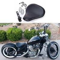 Black Motorcycle Solo Seat Spring Soft Leather For Harley Honda Chopper Bobber A