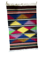 Hand Woven Traditional Large Multicoloured Rug Mat Blue Red Maroon yellow brown
