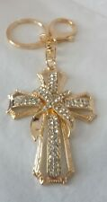 Purse Charm or Key Ring - Alloy - Gold Cross