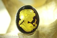 925 Silver Genuine Baltic Honey Amber Intaglio Cameo Lady Brooch Pin Pendant #5