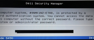 Dell Bios Master Password Unlock for Service Tag ending with E7A8