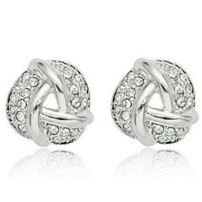 Sparkly knot shaped flat stud earrings quality white gold jewellery UK seller