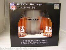 Cincinnati Bengals Plastic 60oz. Pitcher & 4 -16oz. Glasses Tailgate Gift Set