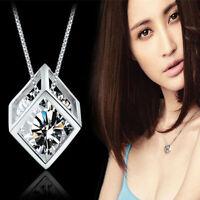 1pc silver magic cube pendant chain necklace Jewelry elegant fashion women