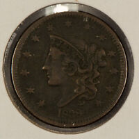 1838 1c Coronet Head Large Cent - VF Coin - SKU-Y2603